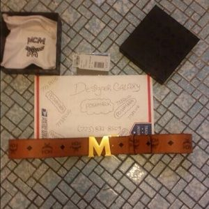 Other - MCM cognac red gold M buckle reversible belt